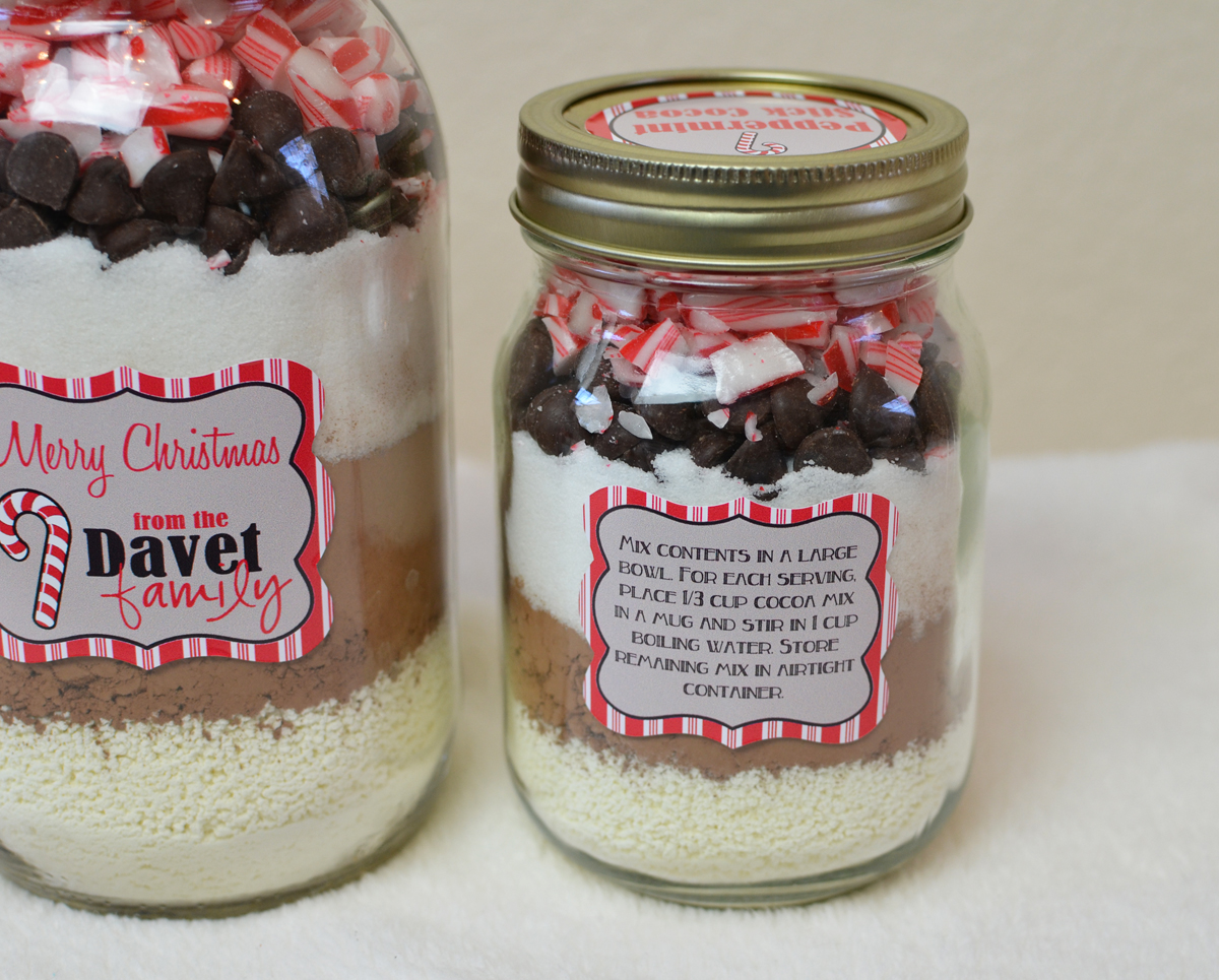 Peppermint Stick Cocoa in a jar