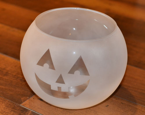 Frosted Painted Glass Jack-O-Lantern Candy Bowl