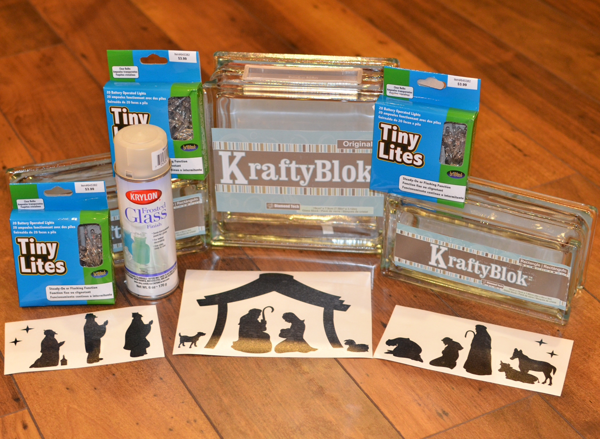 KraftyBlok Nativity Scene With Vinyl Decals Tutorial supplies