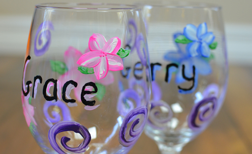 Painted Wine Glass DIY detail