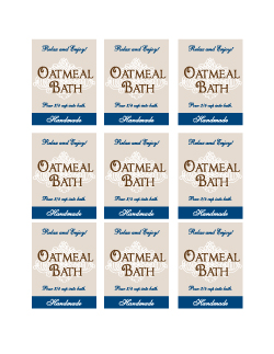 Oatmeal Bath Label rectangle printable