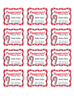 Peppermint Candy Cane Bath Salts label printable
