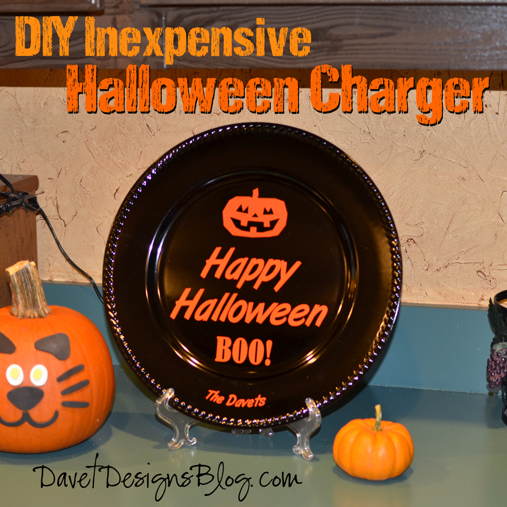 DIY Inexpensive Halloween Plate Charger using vinyl decals