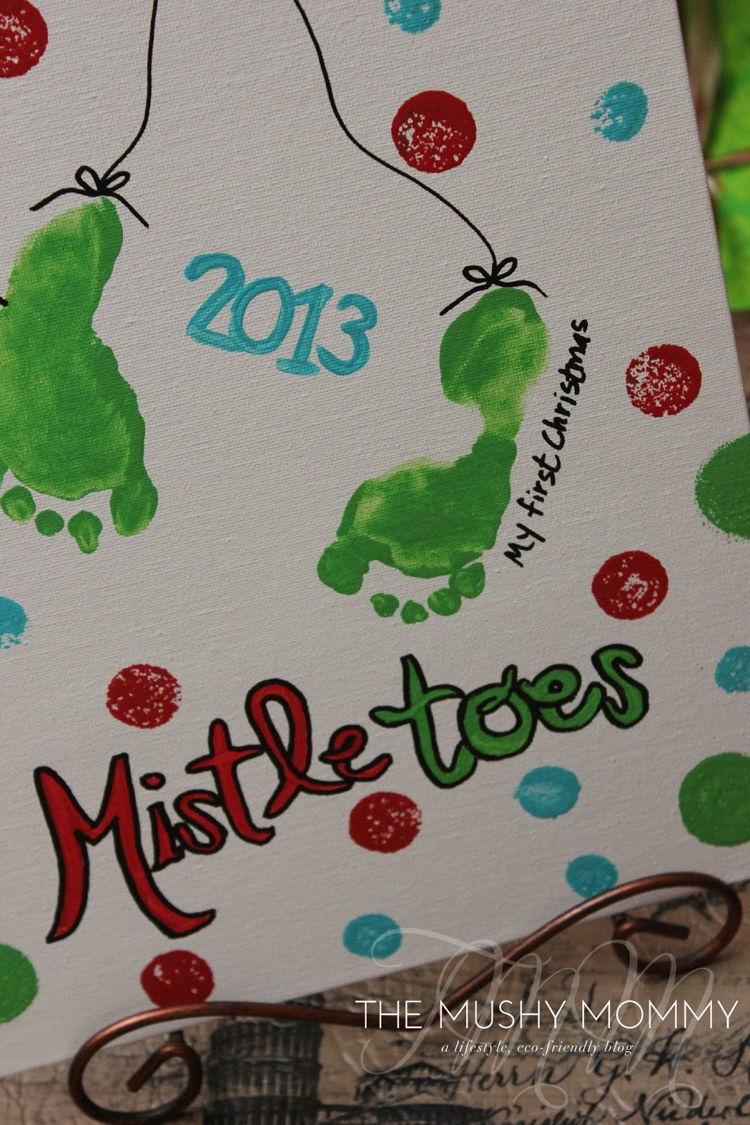 Mistletoes Christmas artwork using kid's footprint
