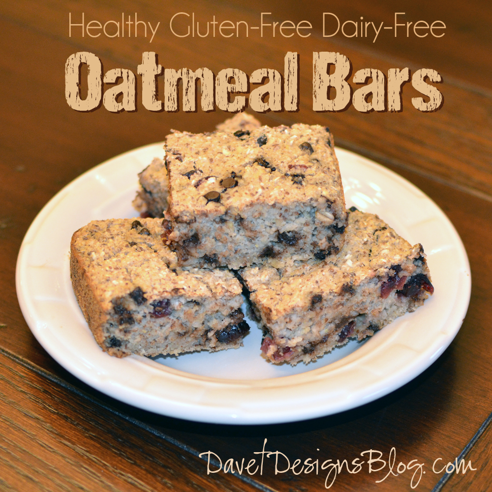 Healthy Gluten-free Eggless Oatmeal Raisin Chocolate Chip Bars