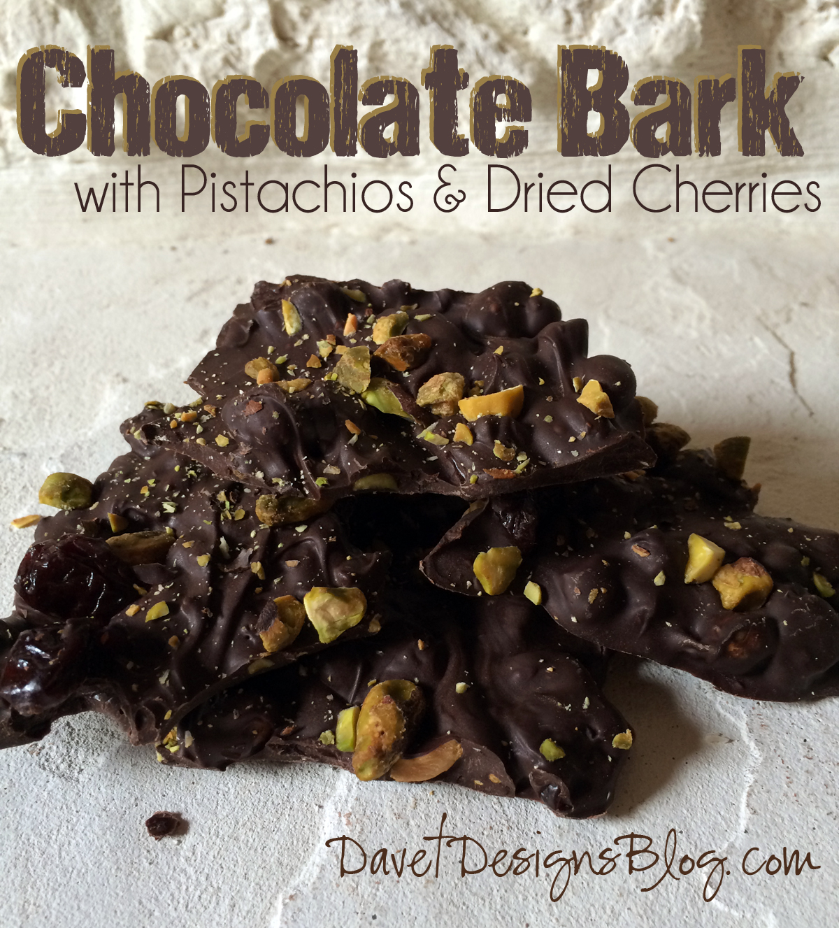 DIY Dark Chocolate Bark with Pistachios and Dried Cherries