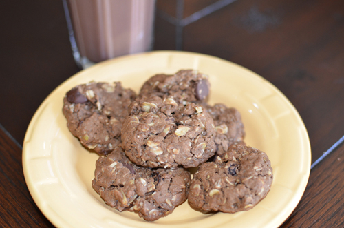 Chocolate Oatmeal Chocolate Chip Raisin Cookies