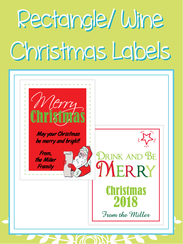 Wine Bottle/ Rectangle Christmas Designs